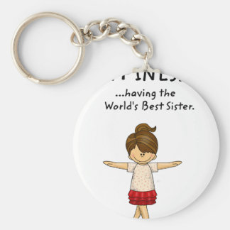 Happiness is ...Having The World's Best Sister..pn Basic Round Button Keychain