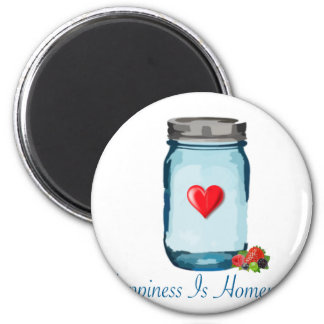 HAPPINESS IS HOMEMADE (MASON JAR) 2 INCH ROUND MAGNET