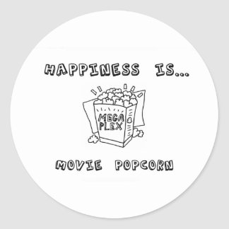 Happiness is Movie Popcorn Round Sticker