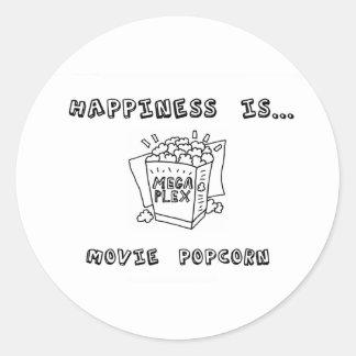 Happiness is Movie Popcorn Round Stickers