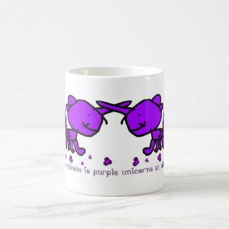 Happiness is purple unicorns at play coffee mug