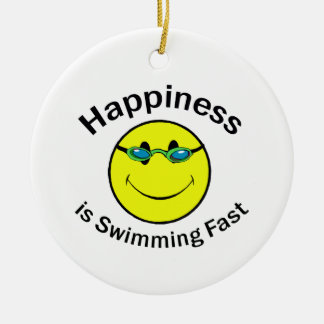 Happiness is Swimming Fast Round Ceramic Ornament