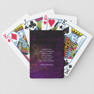 Happiness Is The Key To Success Uplifting Quote Bicycle Playing Cards