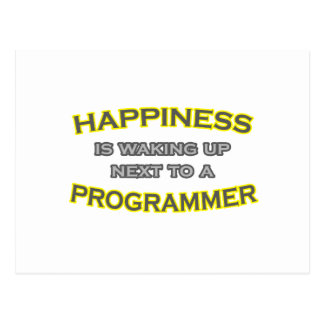 Happiness Is Waking Up .. Programmer Postcard
