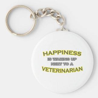 Happiness Is Waking Up .. Veterinarian Keychain