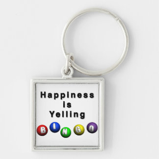 Happiness Is Yelling BINGO Silver-Colored Square Keychain