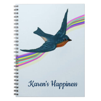 Happiness Journal with Bluebird & Rainbow Stripes