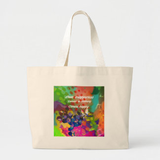 Happiness message from Voltaire. Large Tote Bag