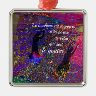 Happiness message in french Silver-Colored square ornament