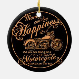 Happiness - Motorcycle Ceramic Ornament