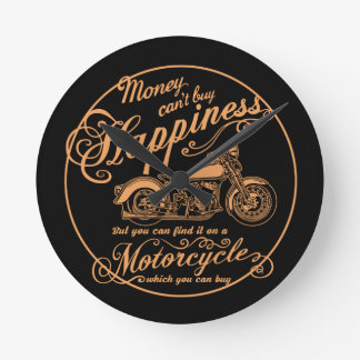 Happiness - Motorcycle Round Clock