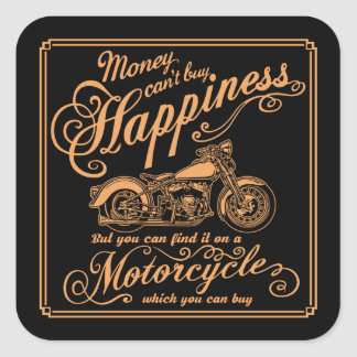 Happiness - Motorcycle Square Sticker