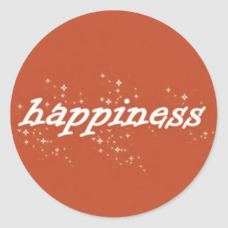 Happiness on Orange Round Sticker