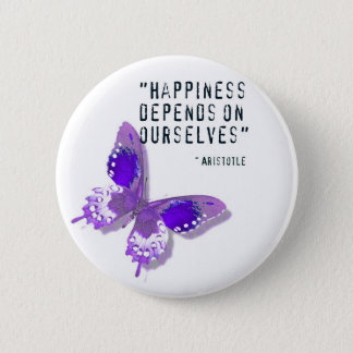 Happiness Purple Butterfly 2 Inch Round Button