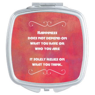 Happiness Quotation on an Orange Red Abstract Mirrors For Makeup