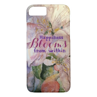 Happiness Quote Floral Art iPhone Case