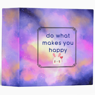 Happiness Quote with Space Clouds Abstract Design Vinyl Binders