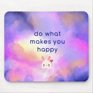Happiness Quote with Surreal Clouds Abstract Mouse Pad