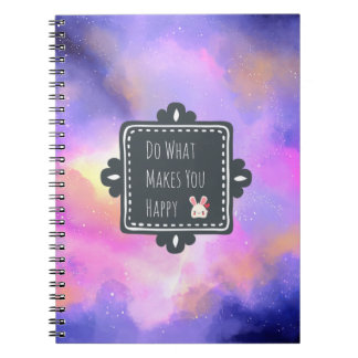 Happiness Quote with Surreal Clouds and a Bunny Notebook