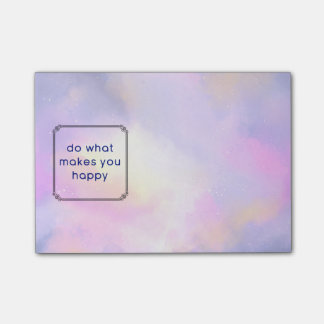 Happiness Quote with Watercolor Abstract Design Post-it Notes
