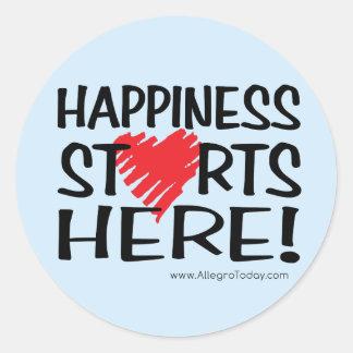 Happiness Starts Here! Classic Round Sticker