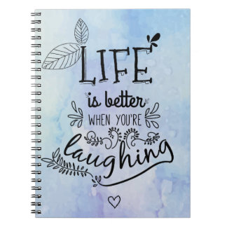 Happiness, Success, Life Attitude Blue Watercolor Notebooks