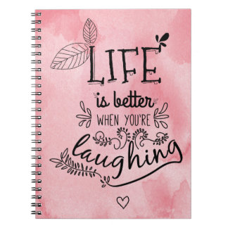 Happiness, Success, Life Attitude Pink Watercolor Notebook
