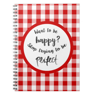 Happiness, Success, Life Attitude Red Gingham Note Books