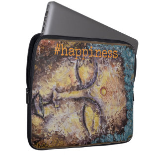 #happiness Zen Buddha Watercolor Art Laptop Sleeve