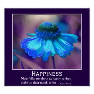 Happiness Zinnia Flower Motivational Quote Poster