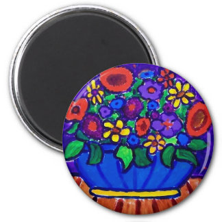 Happt Flowers by Piliero 2 Inch Round Magnet