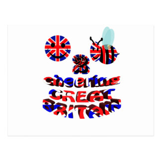 happy2bee cheering great britain postcard