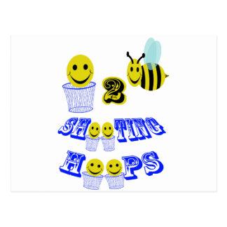 happy2bee shooting hoops postcard