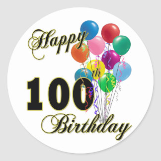Happy 100th Birthday Gifts and Birthday Apparel Classic Round Sticker