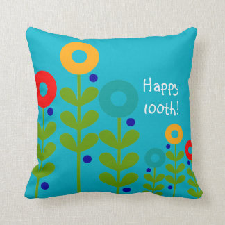 Happy 100th Birthday Pillow Floral Blue