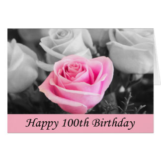 Happy 100th Birthday Rose Photography Card