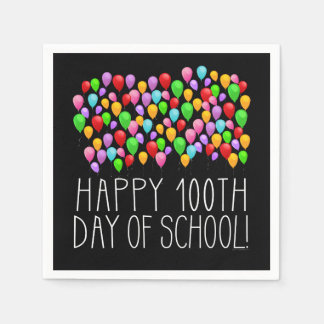 Happy 100th Day of School 100 Balloons Teacher Paper Napkins