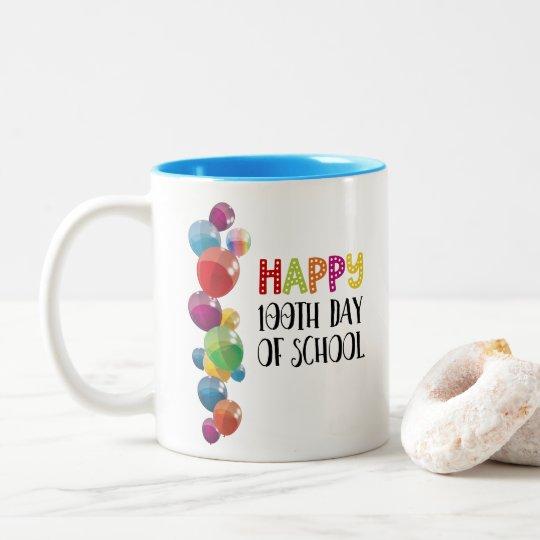 Happy 100th Day Of School. Balloons Two-Tone Coffee Mug
