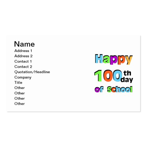 Happy 100th Day of School Business Cards