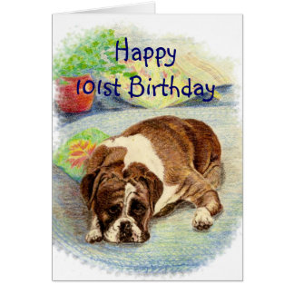 Happy 101st Birthday  Get Excited Humor Boxer Dog Card