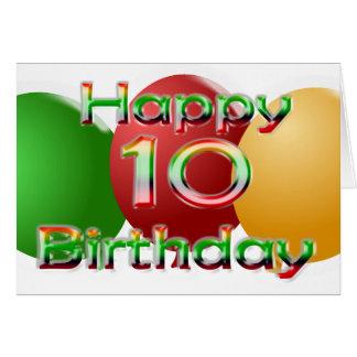 Happy 10th Birthday Balloon Card