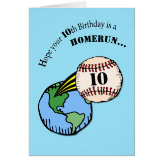 Happy 10th Birthday, Boy and Homerun Baseball Card