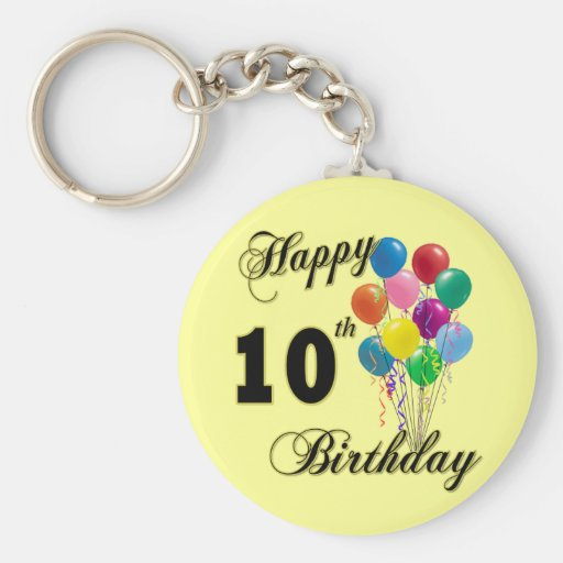 Happy 10th Birthday Gifts and Birthday Apparel Key Chains