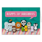 Happy 10th Birthday Girly Cute Smiling Animals Card