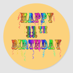 Happy 11th Birthday Balloon Stickers