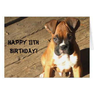 Happy 11th Birthday Boxer greeting card