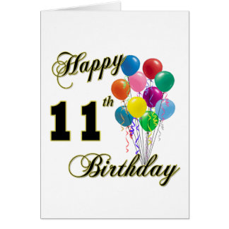 Happy 11th Birthday Gifts and Birthday Apparel Card