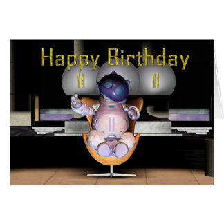 Happy 11th Birthday Robot Cat Greeting Card