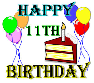Happy 11th Birthday With Cake Balloons And Candle Classic Round Sticker