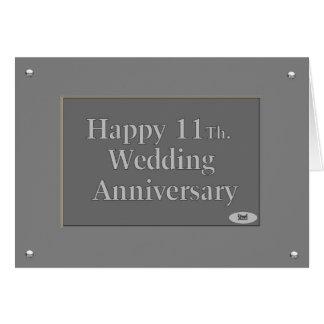 Happy 11Th. Wedding Anniversary Steel Card